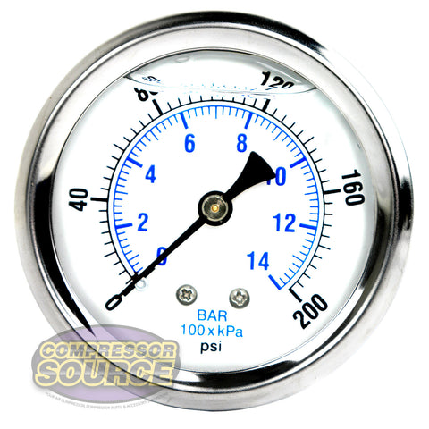 "Liquid Filled 0-200 PSI Center Back Mount Air Pressure Gauge With 2.5"" Face"