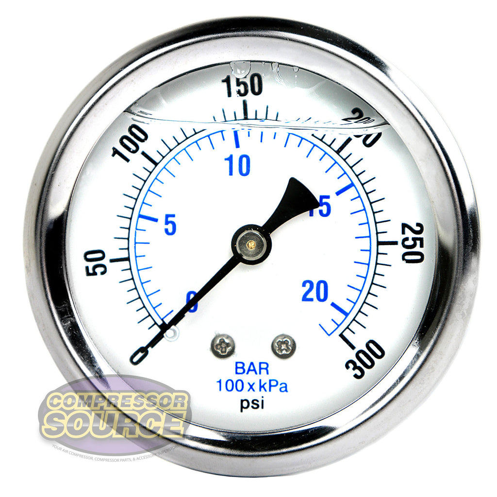 "Liquid Filled 0-300 PSI Center Back Mount Air Pressure Gauge With 2.5"" Face"