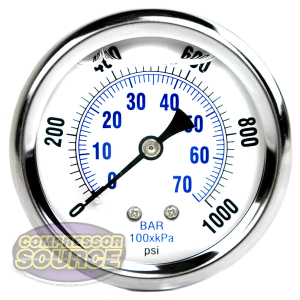 "Liquid Filled 0-1,000 PSI Center Back Mount Air Pressure Gauge With 2.5"" Face"