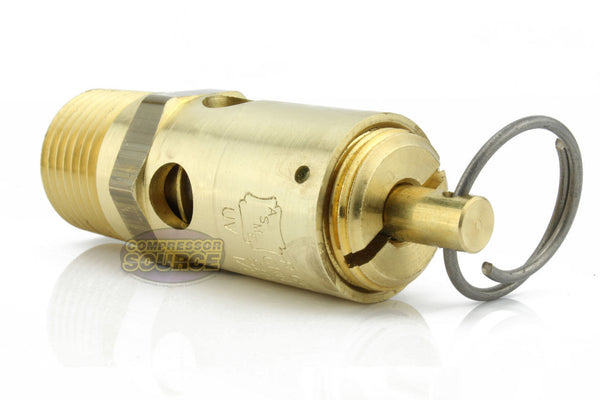 "125 PSI 1/2"" Male NPT Air Compressor Pressure Relief Safety Pop Off Valve"