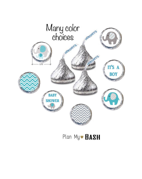 Teal and Gray Elephant Baby Shower Hershey Kisses Stickers (set of 216)
