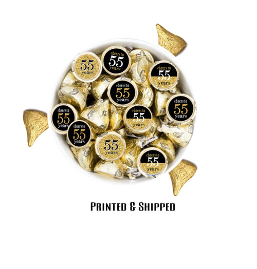 55th Birthday OR ANY BIRTHDAY Black & Gold Theme Candy Stickers - Printed/Shipped (set of 216) Free Shipping Use Code SHIPFREE