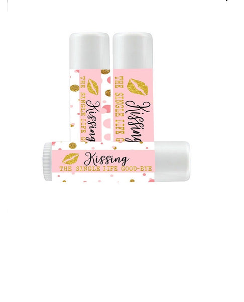 PERSONALIZE Blush Pink Bridal Shower Lip Balms - Bachelorette Party Favors - Kissing the Single Life Goodbye - Gold Glitter Bridal Shower