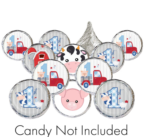 1st Birthday Farmhouse Candy Stickers for Hershey Kisses