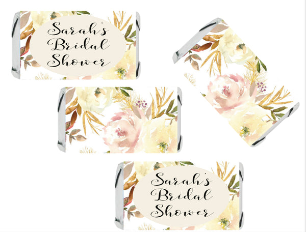 Personalize Rose, Peach, Pink, White Floral BOTTLE LABELS | Adhesive Stickers | 12 Labels | Printed & Shipped