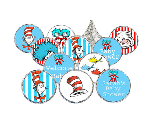 Personalize Seuss Candy Stickers for Hershey Kisses / Birthday or Baby Shower / 210 Printed & Shipped Stickers