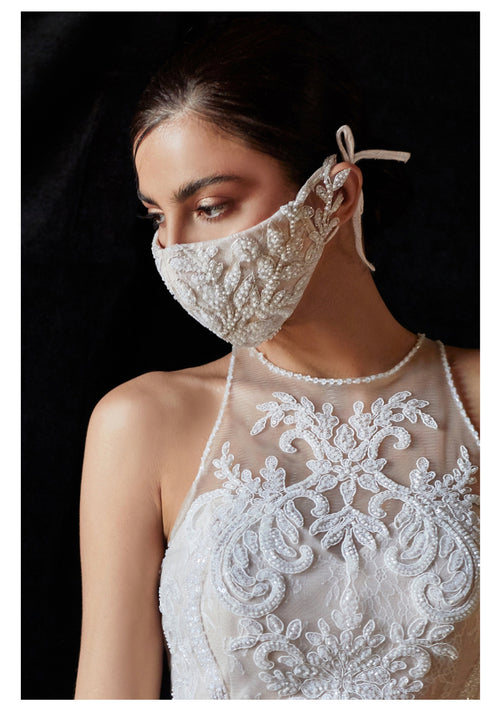 Beaded Lattice Fashion Bridal Face Mask / Off White Nude