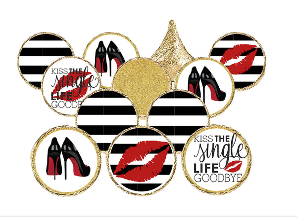 """Kissing The Single Life Goodbye"" Candy Stickers for Hershey Kisses"