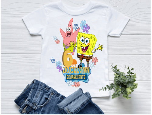 Personalize Spongebob Birthday T-Shirt - Birthday Outfit - w/Name & Age