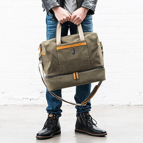 Personalize Carry On Bag - Genuine Leather & Canvas | Groomsmen Wedding Gifts | Bridal Party Gifts