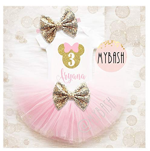 Personalize First Birthday Pink Gold Birthday Outfit -Minnie Birthday - 3 Piece Photo Prop Outfit