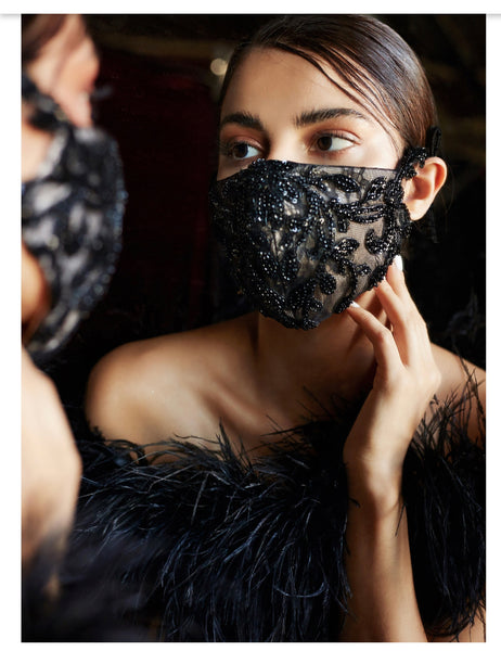 Beaded Lattice Fashion Bridal Face Mask / Black Nude