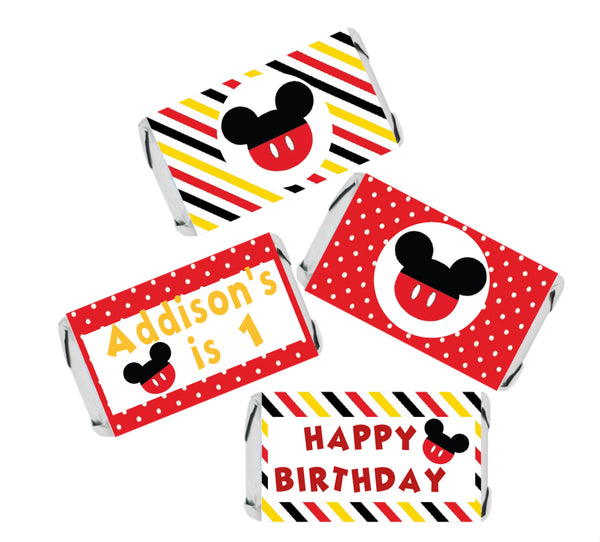 Mickey Inspired Candy Stickers for Miniature Candy / Adhesive Stickers / 36 Stickers