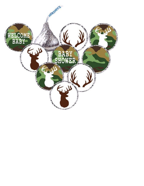 It's a Buck Deer Baby Shower Hershey's Kisses Stickers - Camo/Blue OR Camo/Pink - Printed & Shipped (210 Stickers)  -Free Shipping Use Code SHIPFREE