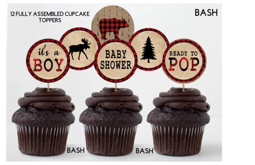 Set of 8 Lumberjack Place Cards, Food Tents, Food Labels, Plaid, Lumberjack Party Tents - READY TO SHIP
