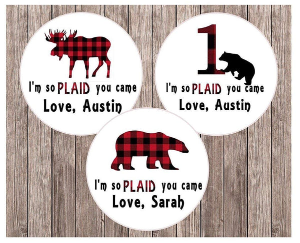 Lumberjack Miniatures Candy Bar Wrapper Stickers - Printed & Shipped - Lumberjack Decorations - Party Favors - Baby Shower - First Birthday - Party Labels