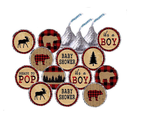 Lumberjack Inspired Hershey's Kisses Stickers - Lumberjack Decorations - Party Favors - Baby Shower - First Birthday - Party Labels