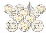 Personalize Rose, Peach, Pink, White Floral Hershey kisses Candy Stickers | Adhesive Stickers | Printed & Shipped