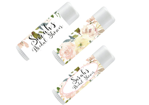 Personalize Lip Balm Favors | Floral Watercolors | Peach, Rose, Pink & White Floral Watercolor