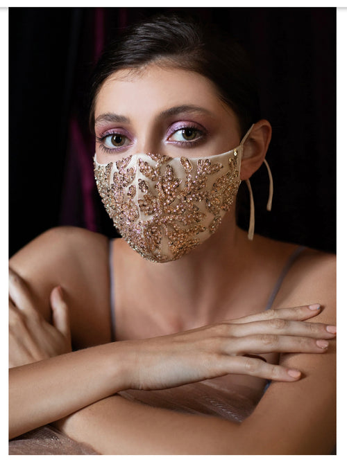 Beaded Lattice Fashion Bridal Face Mask / CHAMPAGNE-GOLD