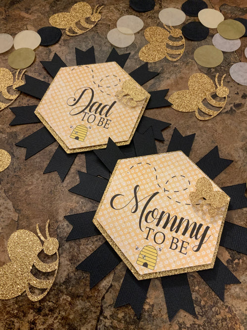 "Ready to Ship. ""MOM TO BEE"" Confetti Table Decoration - Soft Tissue Paper Confetti - Gold, Black, Silver & Cream Mix Confetti - 100 Pieces"