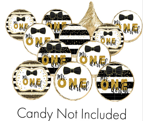 """Mr. Onederful"" First Birthday Candy Stickers for Hershey Kisses"
