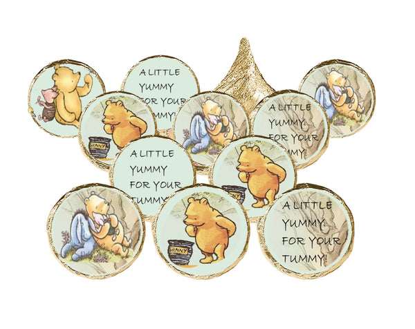 Winnie Pooh Candy Stickers for Hershey Kisses