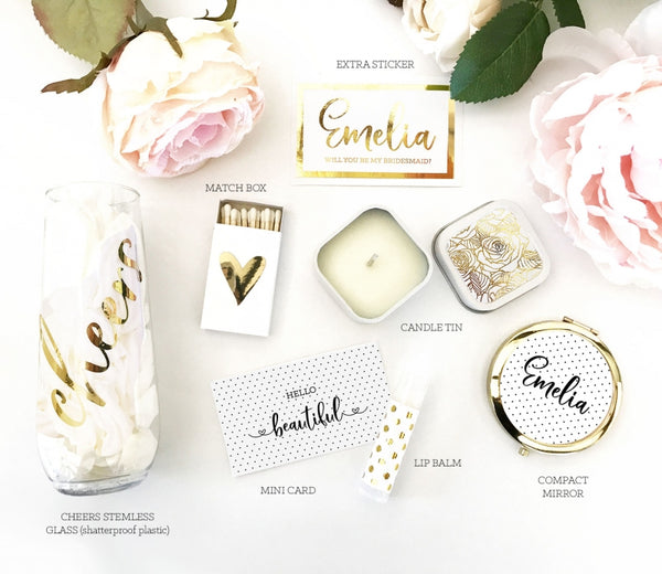 Bridesmaid Personalize Gift Box Set / Gold, Rose, Silver Foil