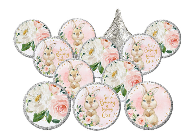Some Bunny Is One Theme Candy Stickers for Hershey Kisses | First Birthday Bunny Stickers | Candy Party Favors