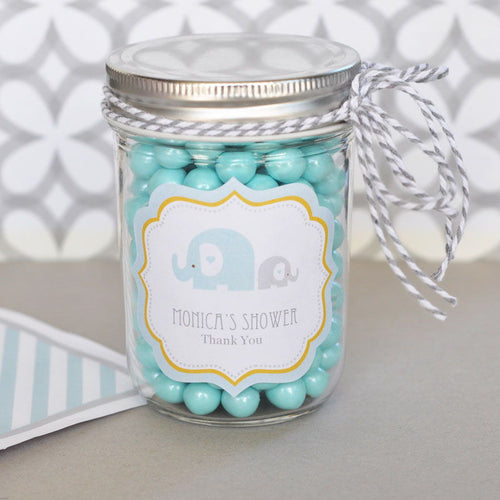 Blue Elephant Frame Personalized Labels-- Baby Boy (set of 24)