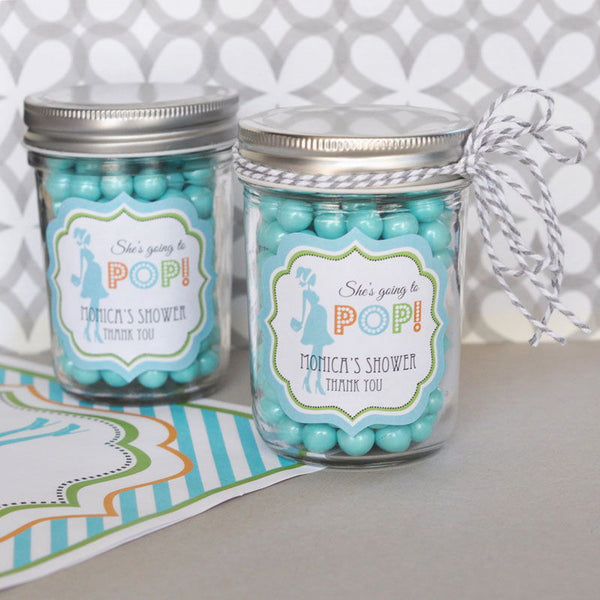 """Going to Pop"" Blue Frame Personalized Baby Shower Labels- Baby Boy (set of 24)"