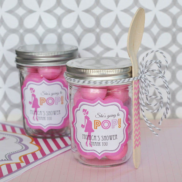 """Going to Pop"" Pink Frame Personalized Baby Shower Labels- Baby Girl (set of 24)"