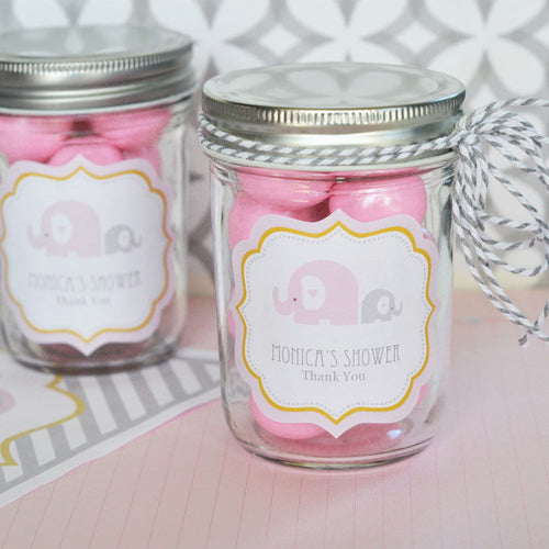 Pink Elephant Frame Personalized Labels-- Baby Shower Labels- Baby Girl (set of 24)
