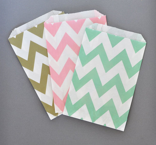 Gold Chevron & Dots Goodie Bags (set of 12)