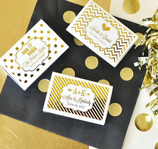 Metallic Foil Personalized Wedding Match Boxes (set of 50)