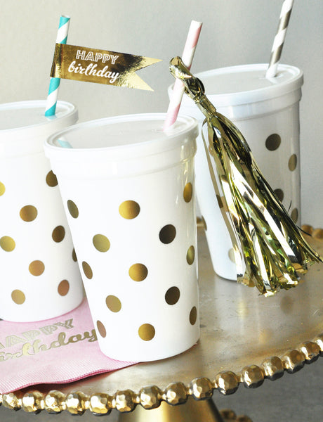 White & Gold Polka Dot Party Cups w/Lids (set of 25)