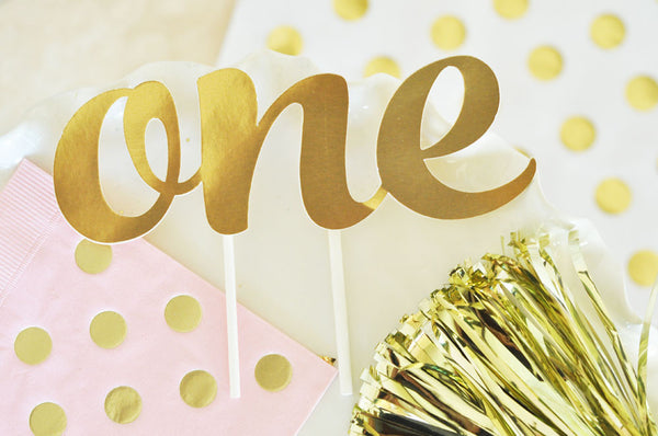"""ONE"" First Birthday Gold Cake Topper"