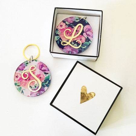Floral Monogram Keychains (set of 6)