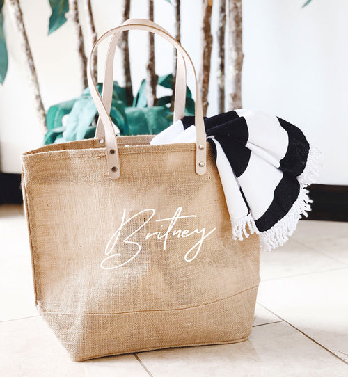 Personalized Burlap Bags Customized Burlap Bridesmaid Large Beach Tote Bag / Personalized Bridesmaid Tote Bag /  Bridesmaid Gift