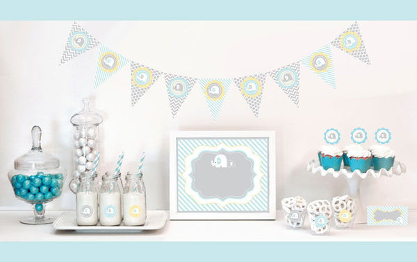 Blue Elephant Decorations Starter Package