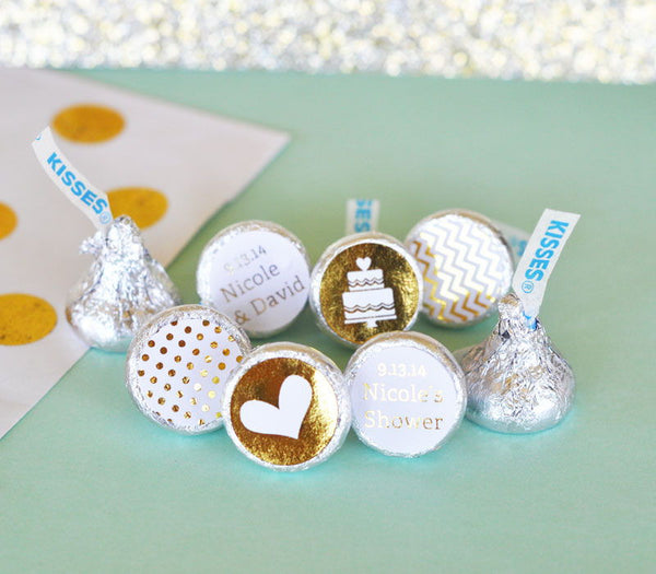 Personalized Wedding Metallic Foil Hershey's® Kisses Labels Trio (set of 108) - Wedding