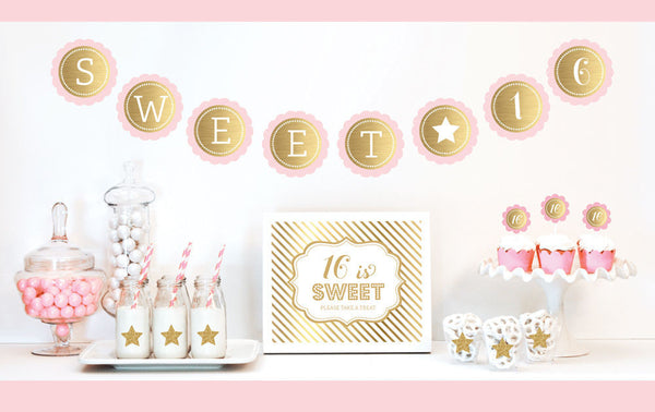 Gold & Glitter Sweet Sixteen Party Kit