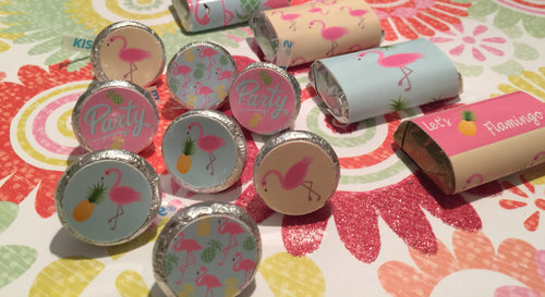 Let's Flamingo Birthday Chocolate Drop Labels, Fits Hershey's Kisses Party Favors, Pink Flamingo & Pineapples Stickers  - SHIPFREE