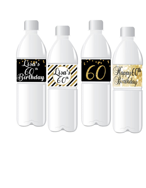 PERSONALIZE 60th Birthday Black & Gold Birthday WATER BOTTLE LABELS | BLACK & GOLD DECORATIONS | Printed & Shipped | 12 Labels