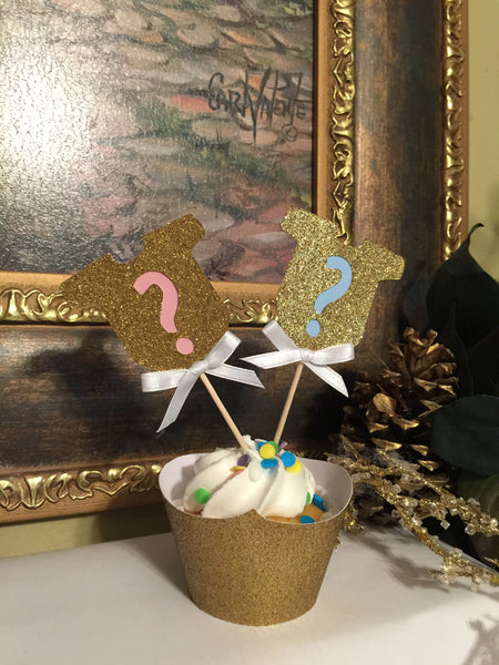 Gender Reveal Party Decor. Gold Onesie Question Mark Cupcake Toppers 12CT.