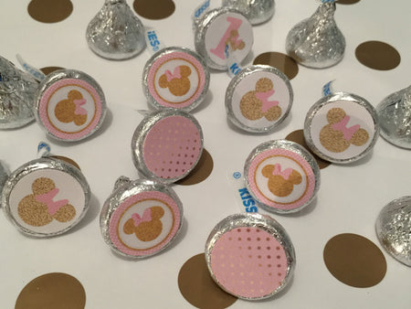 Pink & Gold Decorations | Minnie Inspired Water Bottle Labels