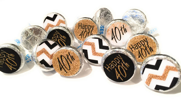 40th Birthday Party Decorations - Gold & Black - Stickers for Hershey Kisses - Happy 40th Birthday Stickers (set of 210) -Free Shipping Use Code SHIPFREE