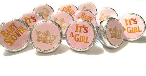 It's A Girl Princess Baby Shower Party Decorations - Gold & Pink - Stickers for Hershey Kisses - (set of 324) -Free Shipping Use Code SHIPFREE