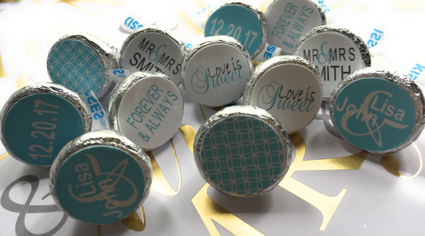 Personalize Mr. & Mrs. Wedding Favors Stickers - Party Favors - Forever & Always - For Hershey's Kisses -Personalize Stickers - Tiffany Theme - SHIPFREE