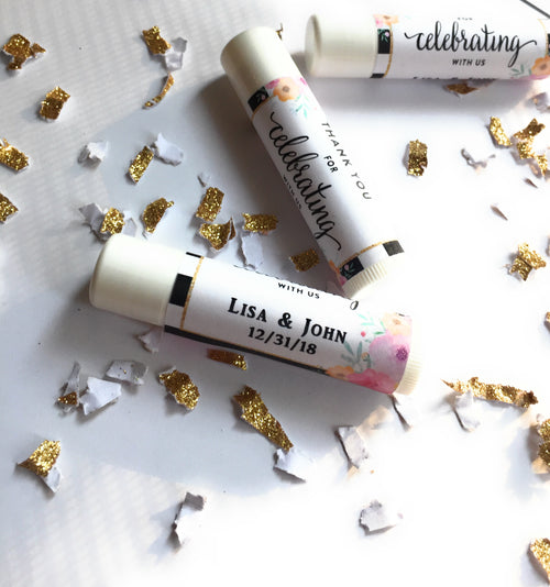 "12 Personalize Lip Balm Favors - ""thank you for celebrating with us"" Favor Lip Balms - Lip Balm Favors (Lip Balm Included) -Free Shipping Use Code SHIPFREE"
